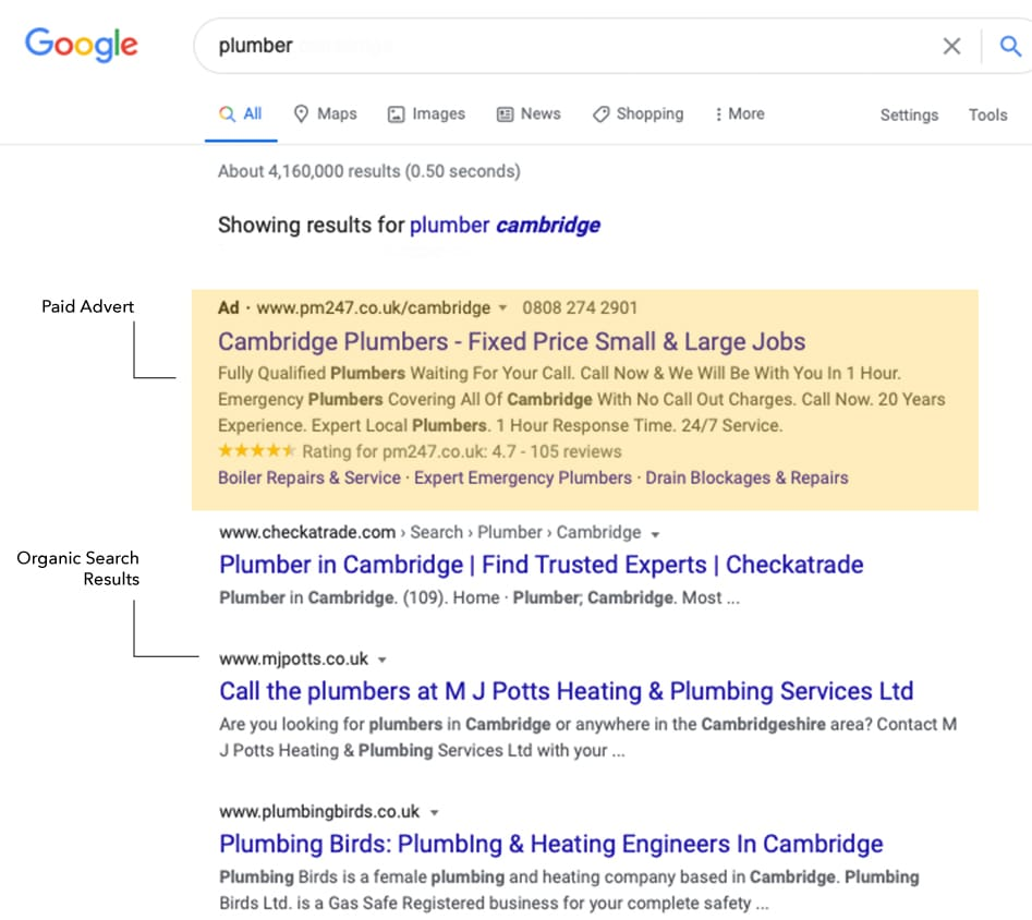 plumber cambridge organic and paid search results