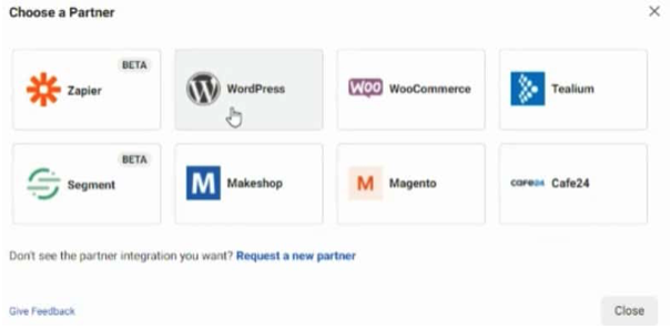 Select your ecom store's platform from the list